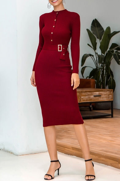 Popular Solid Color Belted Button Front Collarless Long Sleeve Midi Bodycon Sweater Dress for Women