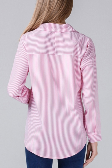 Popular Womens Striped Printed Button up Turn-down Collar Long Sleeve Regular Fit Shirt