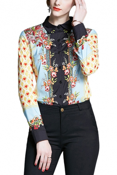 Trendy Womens Floral Heart Printed Color Block Button Up Turn Down Collar Long Sleeve Regular Fit Blouse Top