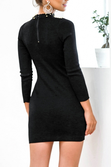 Trendy Womens Solid Color Studded Embellished Cut Out Front Mock Neck Long Sleeve Mini Bodycon Sweater Dress in Black