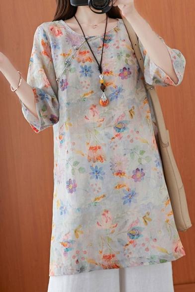 Vintage Ladies Flower Printed Split Side Frog Button Crew Neck Half Sleeve Loose Tunic Blouse Top