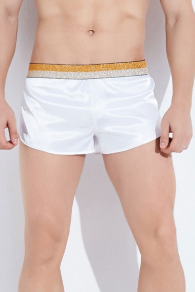 White Casual Patchwork Elasticated Waist Mid Rise Relaxed Fit Pajama Shorts for Men