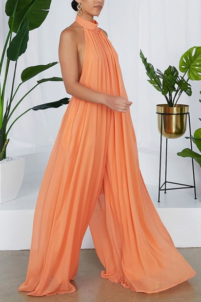 Womens Jumpsuits Casual Solid Color Chiffon Sleeveless Backless Loose Fitted Halter Neck Jumpsuits
