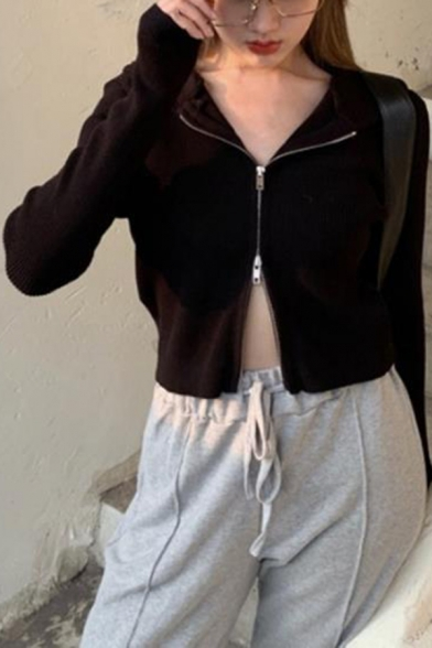 Womens Sexy Plain Black Long Sleeve Zip Up Cropped Casual Jacket