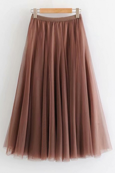 Baycheer / Womens Skirt Casual Solid Color Tulle High Elastic Rise Midi A-Line Swing Skirt