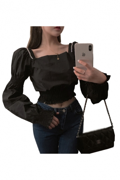 Adorable Womens Puff Long Sleeve Square Neck Pintuck Regular Fit Plain Crop Blouse Top