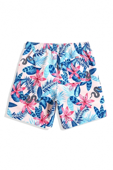 All Over Flwoer Patterned Drawstring Waist Straight Fancy Shorts in Blue