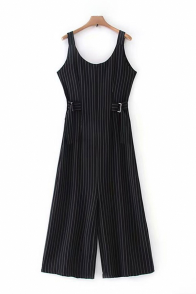 Classic Womens Jumpsuits Vertical Pinstriped Pattern Buckle Belted Scoop Neck Loose Fitted Sleeveless Jumpsuits