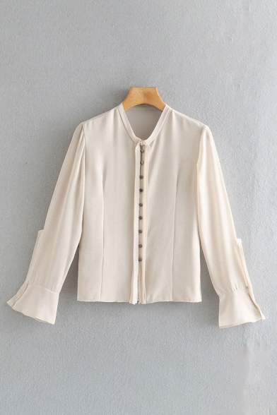 Fancy Ladies Long Sleeve Crew Neck Button Up Regular Fit Shirt Top in Apricot