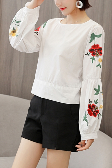 Fashion Bow Tie Back Floral Embroidered Long Sleeve Round Neck Loose Blouse