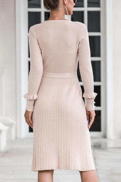 Formal Ladies Solid Color Long Sleeve Crew Neck Bow Tied Waist Knitted Mid Sheath Sweater Dress in Apricot