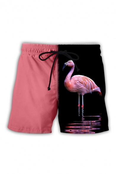 Mens 3D Shorts Fashionable Colorblock Flamingo Pattern Regular Fitted Drawstring Waist Relaxed Shorts