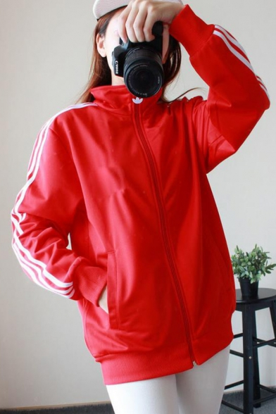New Stylish Striped Print Long Sleeve Turtleneck Zipper Windproof Coat