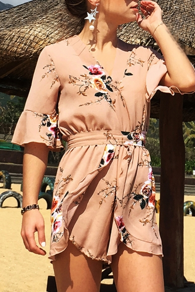 Novelty Womens Rompers Peony Printed Tie-Waist Chiffon Surplice Neck Loose Fitted Half Flared Cuff Sleeve Rompers