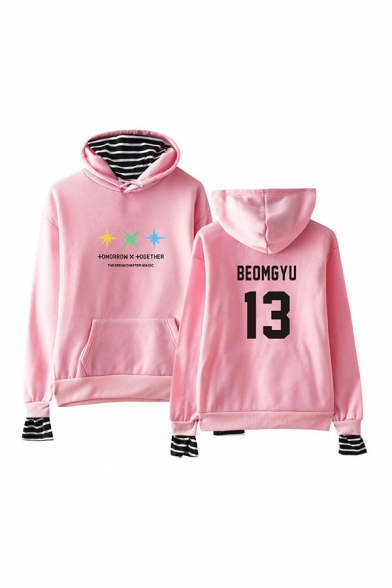 Popular Number Letter Graphic Print Striped Patchwork Fake Two Pieces Drawstring Kangaroo Pocket Long Sleeve Relaxed Fit Hooded Sweatshirt