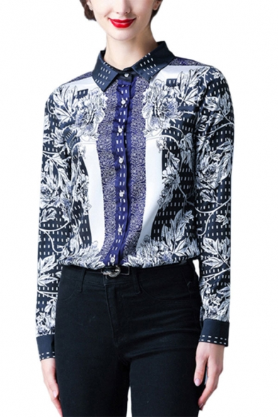 Popular Womens Floral Print Button Up Spread Collar Long Sleeve Regular Fit Blouse Top