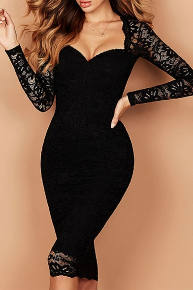 Sexy Womens See-through Lace Long Sleeve Sweetheart Neck Mid Bodycon Dress
