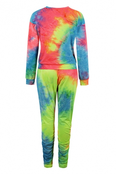 Sporty Womens Red Tie Dye Printed Crew Neck Long Sleeve Regular Fit Sweatshirt & Drawstring Elastic Waisted Full Length Tapered Pants Set