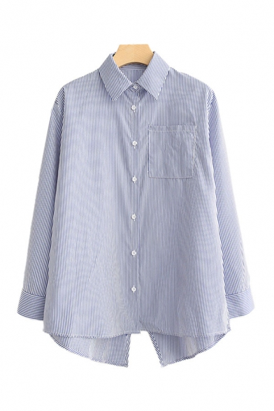 Trendy Womens Striped Printed Split Back Chest Pocket Button Up Turn-down Collar Long Sleeve Loose Fit Shirt