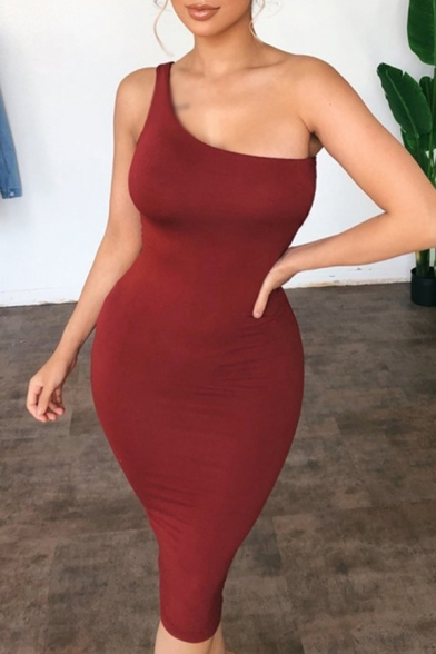 Womens Elegant Solid Color One Shoulder Mid Bodycon Tank Dress