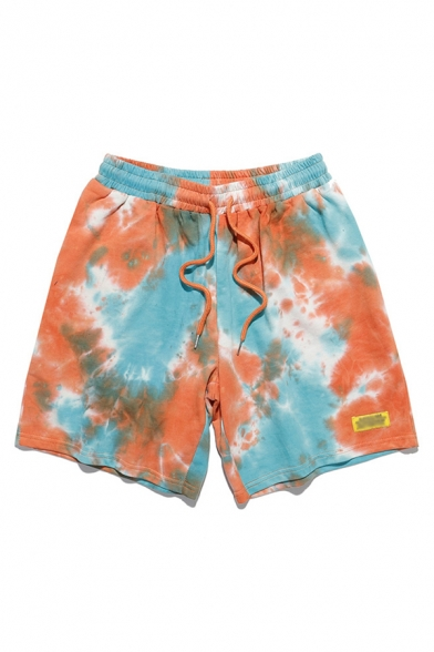 Colorful Mens Shorts Tie Dye Knee-Length Regular Fitted Drawstring Waist Relaxed Shorts