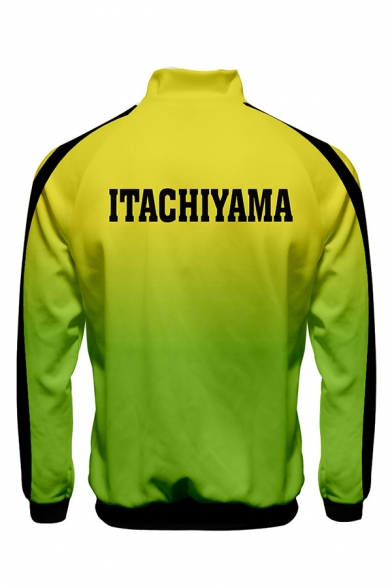 Cool Mens Letter Itachiyama Print Ombre Contrasted Long Sleeve Stand Collar Zip Up Relaxed Fit Jacket