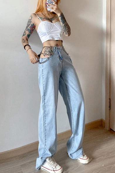 Baycheer / Dainty Womens Jeans Chain Acid Wash Cut-out Long Length Pockets High-rise Loose Fit Zip Placket Jeans