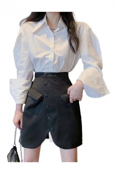 Formal Womens White Long Sleeve Spread Collar Button Up Loose Fit Shirt Top