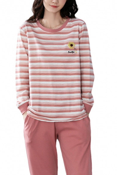 Leisure Letter Daisy Flower Embroidered Stripe Long Sleeve Relaxed T Shirt & Straight Pants Pajamas Set in Pink
