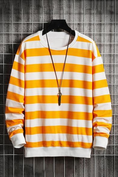 Mens Pullover Sweatshirt Trendy Horizontal Striped Pattern Round Neck Rib Trim Long Sleeve Regular Fit Pullover Sweatshirt