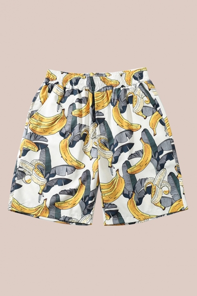 Mens Shorts Unique Banana Leaf Printed Pocket Elastic Waist Regular Fitted Relaxed Shorts