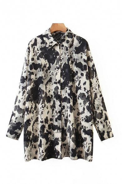 Stylish Womens Tie Dye Printed Long Sleeve Point Collar Button Up Relaxed Fit Long Shirt Top in Black