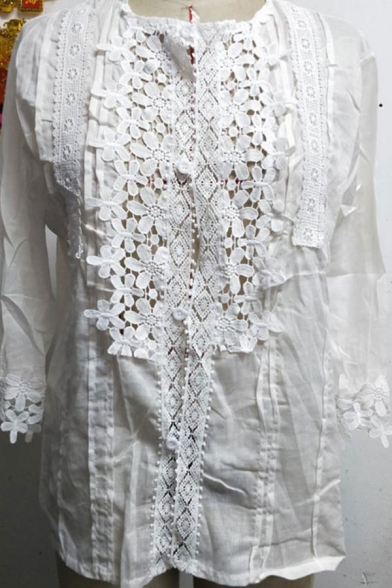 Women's Fashion Simple Plain Deep V-Neck 3/4 Length Sleeve Cutout Detail Loose Blouse