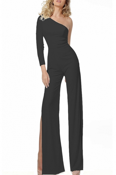 Womens Jumpsuits Unique Solid Color Side Split Wide Leg One Shoulder Long Sleeve Loose Fit Jumpsuits
