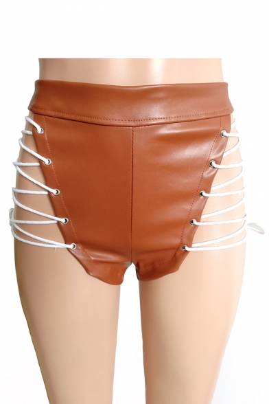 Womens New Stylish Sexy Hollow Out Eyelet Lace-Up Side Skinny Fit Leather Shorts Club Shorts
