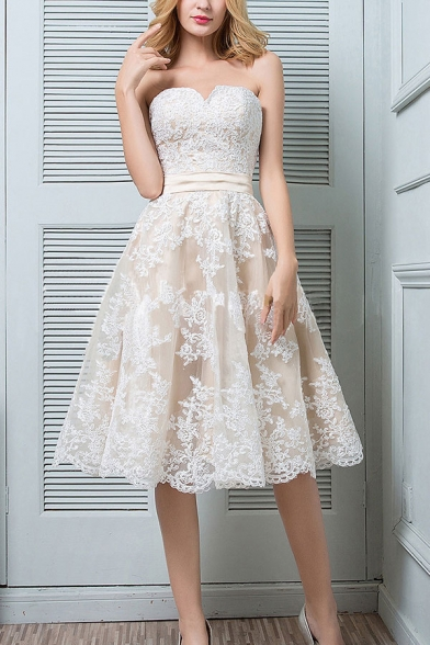 Adorable Womens Applique Strapless Short Pleated Swing Tube Dress in White
