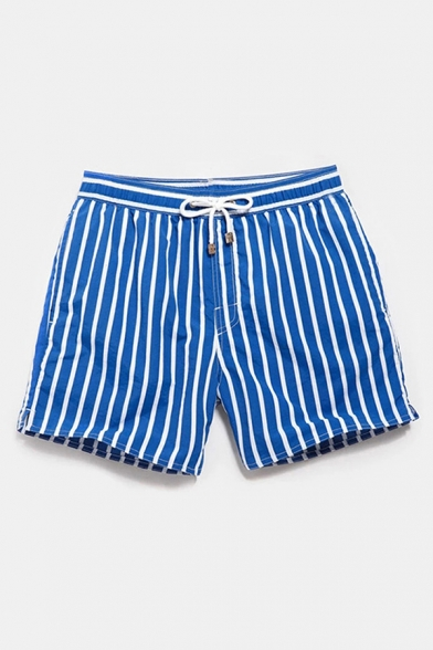 Basic Mens Shorts Striped Pattern Regular Fitted Drawstring Waist Relaxed Shorts