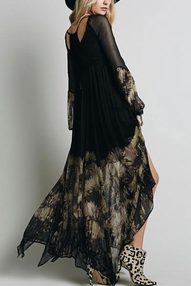 Boho Style Sheer Sleeve V Neck Floral Printed Split Front Hollow Out Back Chiffon Maxi Black Dress