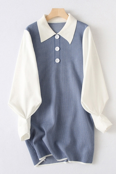 Chic Patchwork Button Front Turn-down Collar Long Sleeve Mini Sheath Sweater Dress for Women