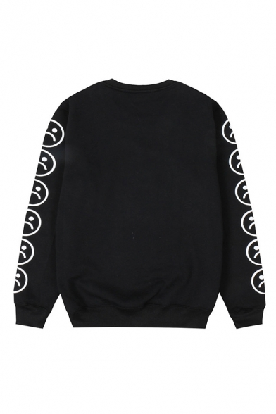 Classic Mens Pullover Sweatshirt Sour Face Cry Emoji Letter Printed Round Neck Long Sleeve Loose Fit Pullover Sweatshirt