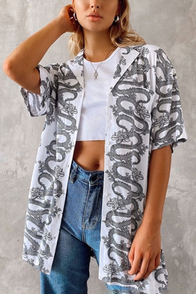 Gray Allover Snake Printed Short Sleeve Notched Collar Button-up Loose Unique Shirt