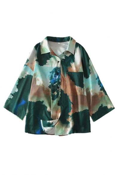 Green Stylish Abstract Pattern Chest Pocket Single Breasted Turn-down Collar Long Sleeve Relaxed Fit Shirt for Women