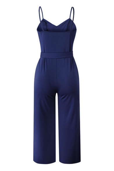Hot Popular Button Embellished Bow Tie Side Backless Spaghetti Strap Sleeveless Ankle Loose Cami Jumpsuits for Women