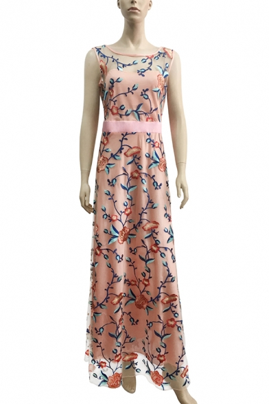 Luxurious Floral Embroidered Boat Neck Sleeveless Maxi Fit & Flare Party Dress