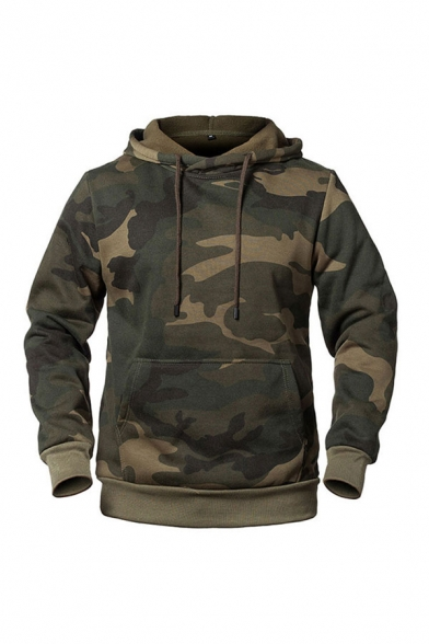 Mens Fashion Hooded Sweatshirt Camouflage Printed Drawstring Kangaroo Pocket Long-sleeved Ribbed Trim Lined Regular Fit Hooded Sweatshirt