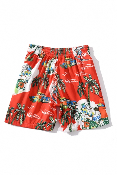 Mens Shorts Fashionable Car Figure Coconut Tree Flower Pattern Regular Fitted Drawstring Waist Relaxed Shorts