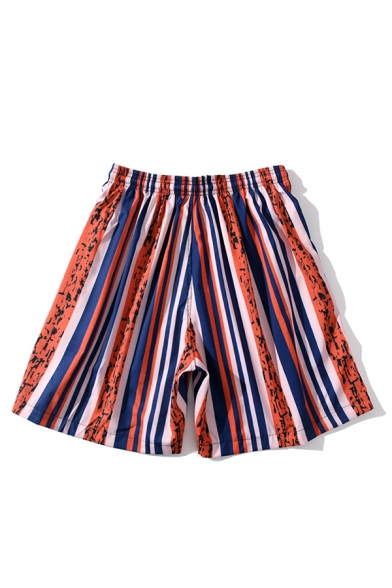Retro Mens Shorts Contrasted Zebra Stripe Printed Regular Fitted Drawstring Waist Relaxed Shorts