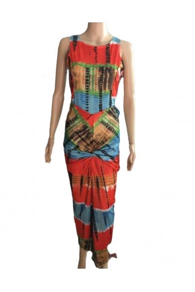 Round Neck Sleeveless Color Block Split Front Maxi Bodycon Dress