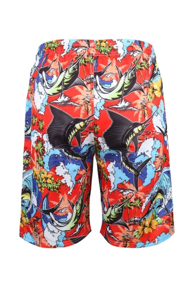 All Over Flower Printed Drawstring Waist Straight Casual Shorts for Men