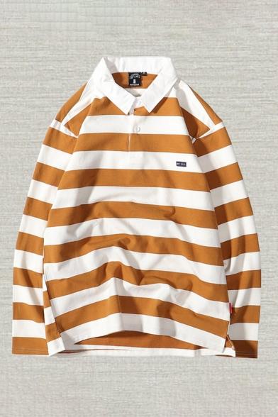 Basic Mens Polo Shirt Horizontal Striped Pattern Button Detail Turn-down Collar Loose Fit Long Sleeve Polo Shirt